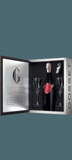 CHAMPAGNE GOSSET - GRANDE RESERVE - COFFRET 2 FLUTES + 1 BOUCHON CONSERVATEUR