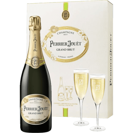 achat coffret 2 flutes grand brut champagne perrier jouet sur vinatis. Black Bedroom Furniture Sets. Home Design Ideas