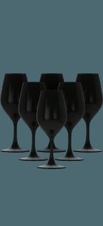 COFFRET 6 VERRES DE DÉGUSTATION 26CL NOIR EN CRISTALLIN - REF 2509 - FAVORIT NOIR