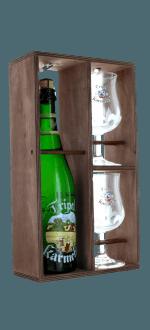 COFFRET TRIPLE KARMELIET 1X75CL + 2 VERRES - CAISSE BOIS - BRASSERIE BOSTEELS