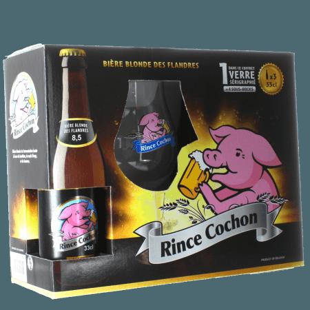 COFFRET RINCE COCHON 3X33CL + 1 VERRE - BRASSERIE HAACHT