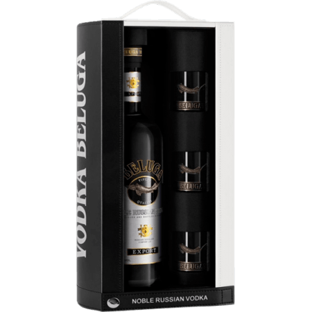 VODKA BELUGA NOBLE + 3 SHOTS - EN COFFRET