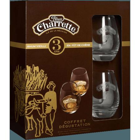 RHUM CHARRETTE 3 ANS - COFFRET 2 VERRES