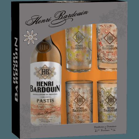 COFFRET PASTIS HENRI BARDOUIN + 4 VERRES