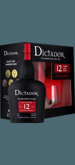RHUM DICTADOR 12 ANS - EN COFFRET 2 VERRES