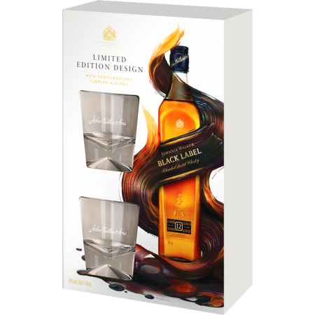 JOHNNIE WALKER BLACK LABEL 12 ANS - EN COFFRET 2 VERRES