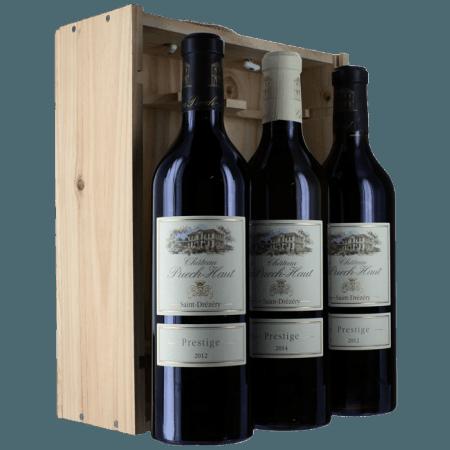 COFFRET BOIS TRIO - PRESTIGE : 2 ROUGE 2018 + 1 BOUTEILLE BLANC 2019 - CHATEAU PUECH HAUT