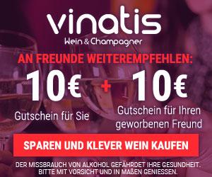 vinatis wein & champagner - an Freunde weiterempfehlen: 10€ Gutschein für Sie + 10€ Gutschein für Ihren geworbenen Freund - Sparen und klever Wein kaufen