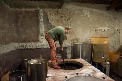 Benoit Braujou dans sa cuve à vin